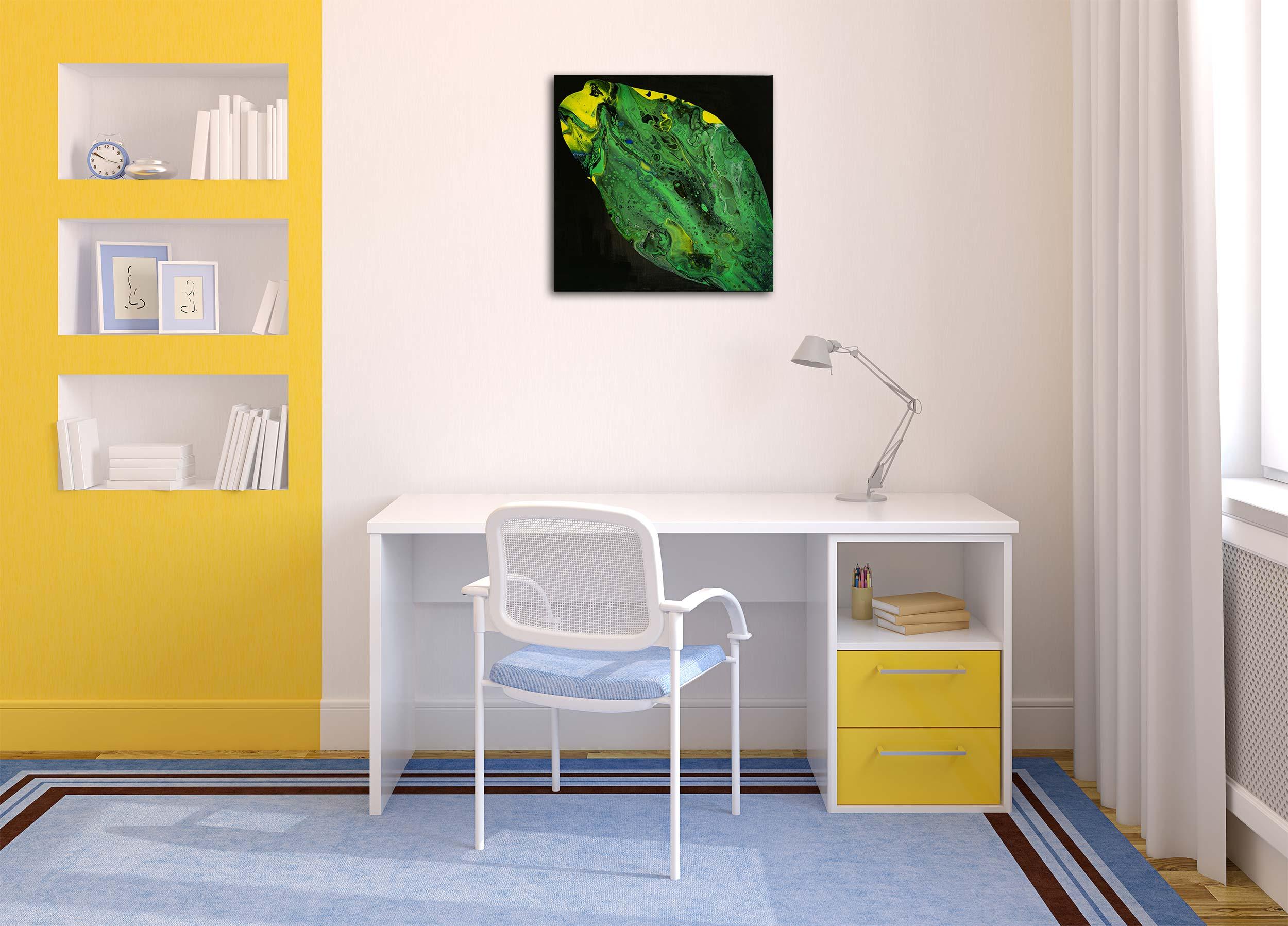 "Wandbild: Acrylic Pouring - Acrylic Fluid Painting ""Green Fish"" Unikat (141)"