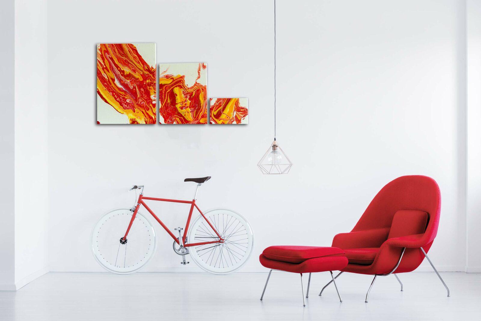 "3er Set Wandbilder Acrylic Pouring - Acrylic Fluid Painting ""Flame"" Unikat (146)"