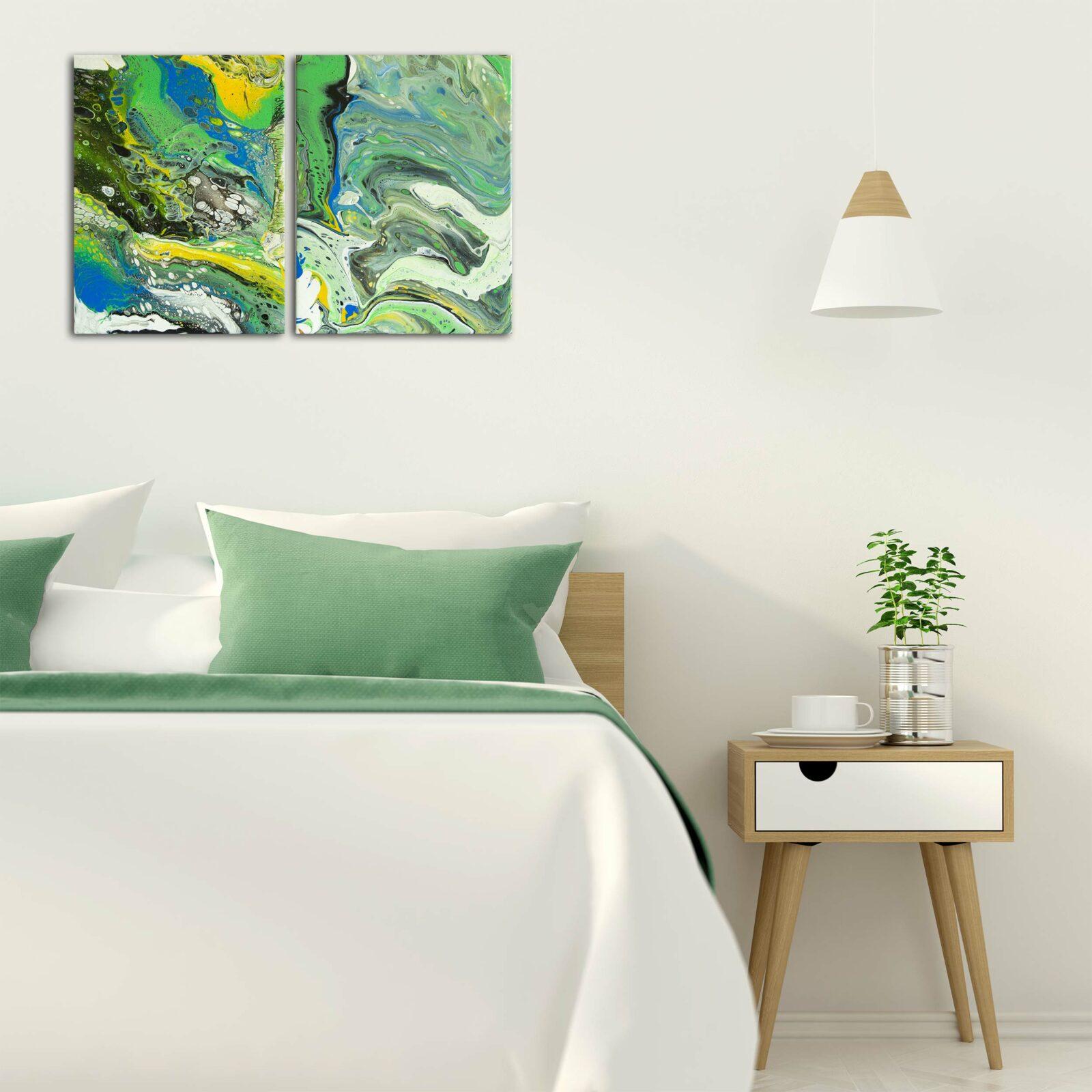 "Wandbild 2er Stet: Acryl Pouring Painting ""Green & Blue"" Unikat (149)"