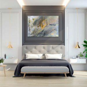 """Abstraktes Gemälde """"GRAY & GOLD"""" Unikat (161)"""