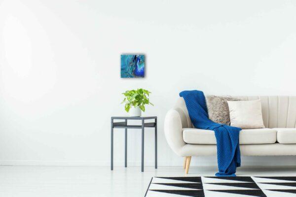 "Acrylic Pouring - Acrylic Fluid Painting ""Blue Water"" Unikat (186)"