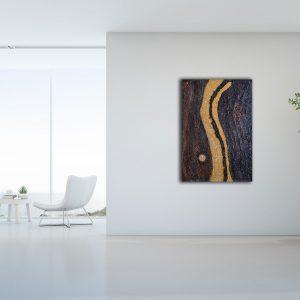 "Extravagantes, abstraktes Gemälde ""Golden River"" - Unikat - 190"