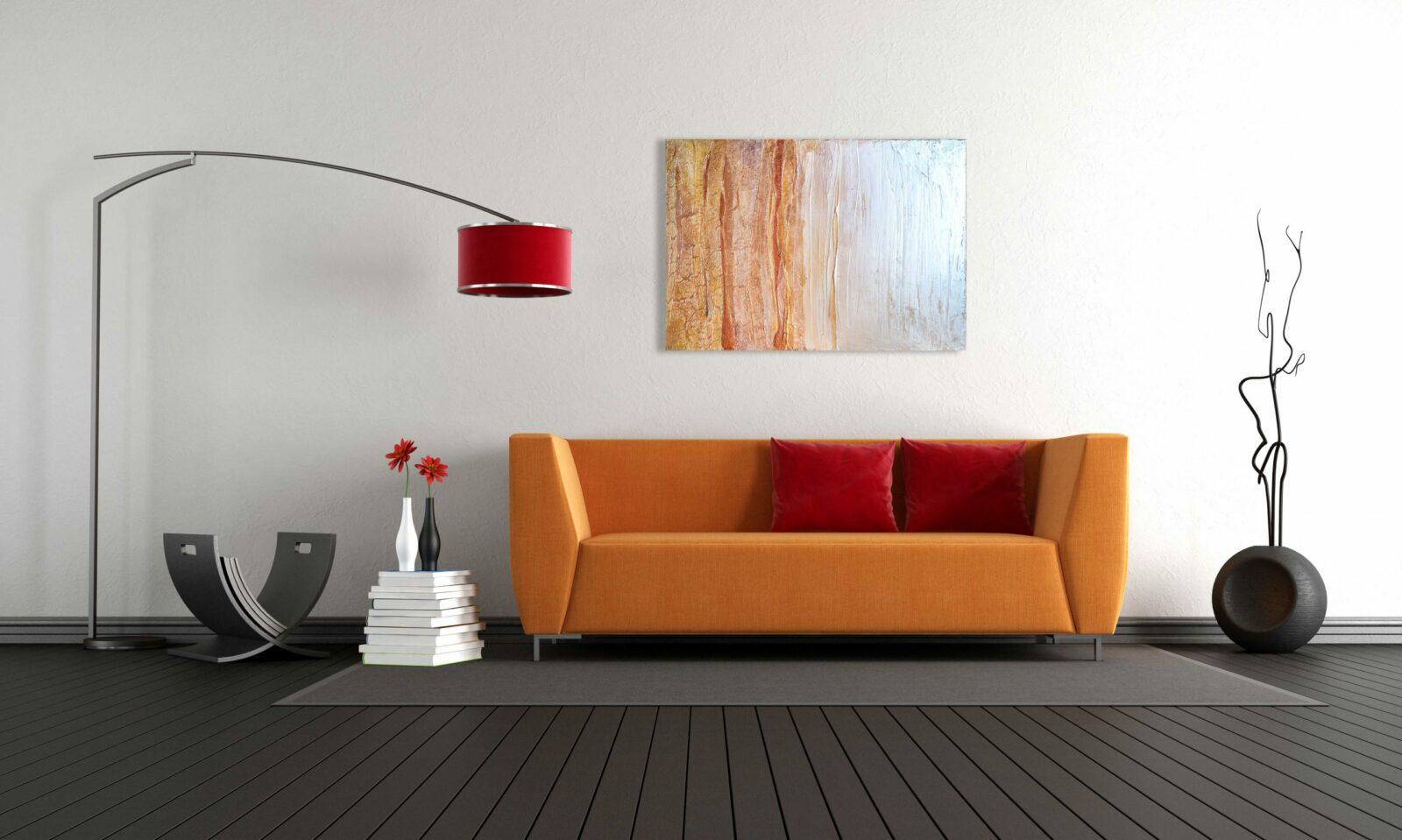 """abstraktes Acryl Gemälde """"Sunshine"""" im Metallic Look - Unikat (256)"""