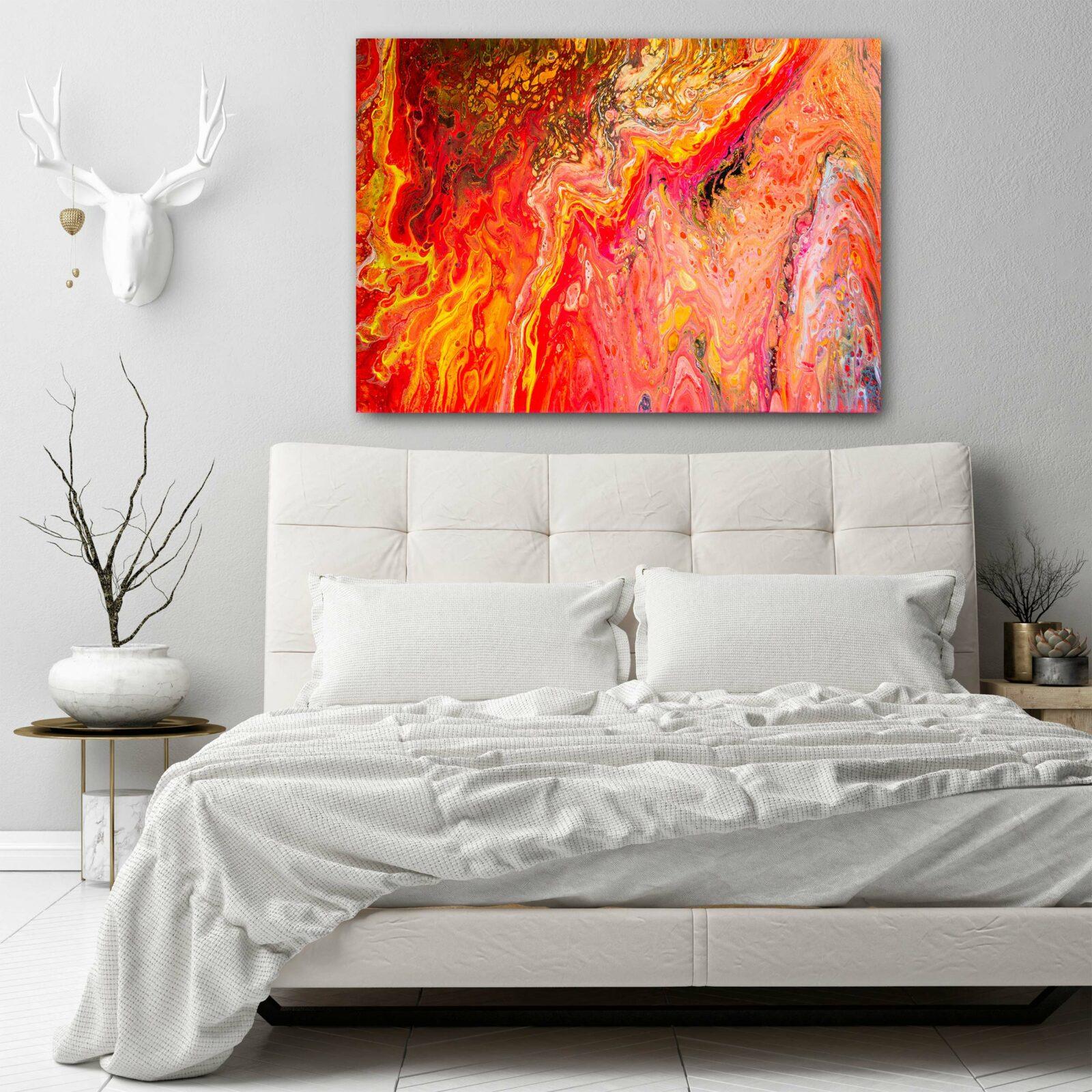 Farbenfroh & Bunt. Acryilgießen – Ein Farbenxplosion der Sinne. MEDIUM: Acryl auf Leinwand. Die Seiten sind bemalt, so gibt es keine Notwendigkeit, diese zu gestalten. Eine Beschichtung aus Lack wurde angewendet, um die Malerei zu schützen. Kann feucht abgewischt werden.