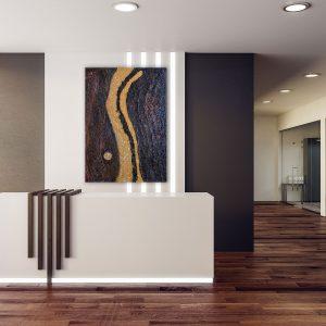 "Extravagantes, abstraktes Gemälde ""Golden River"" - Unikat - 190 1"
