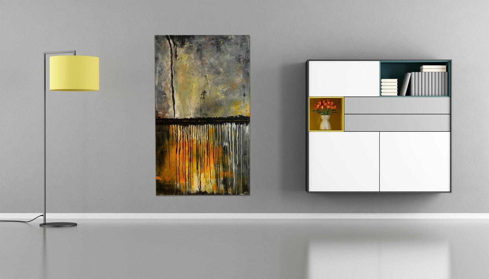 "Extravagantes, abstraktes Wandbild – Acryl Gemälde – ""Gewitter"" Unikat handgemalt (198)"