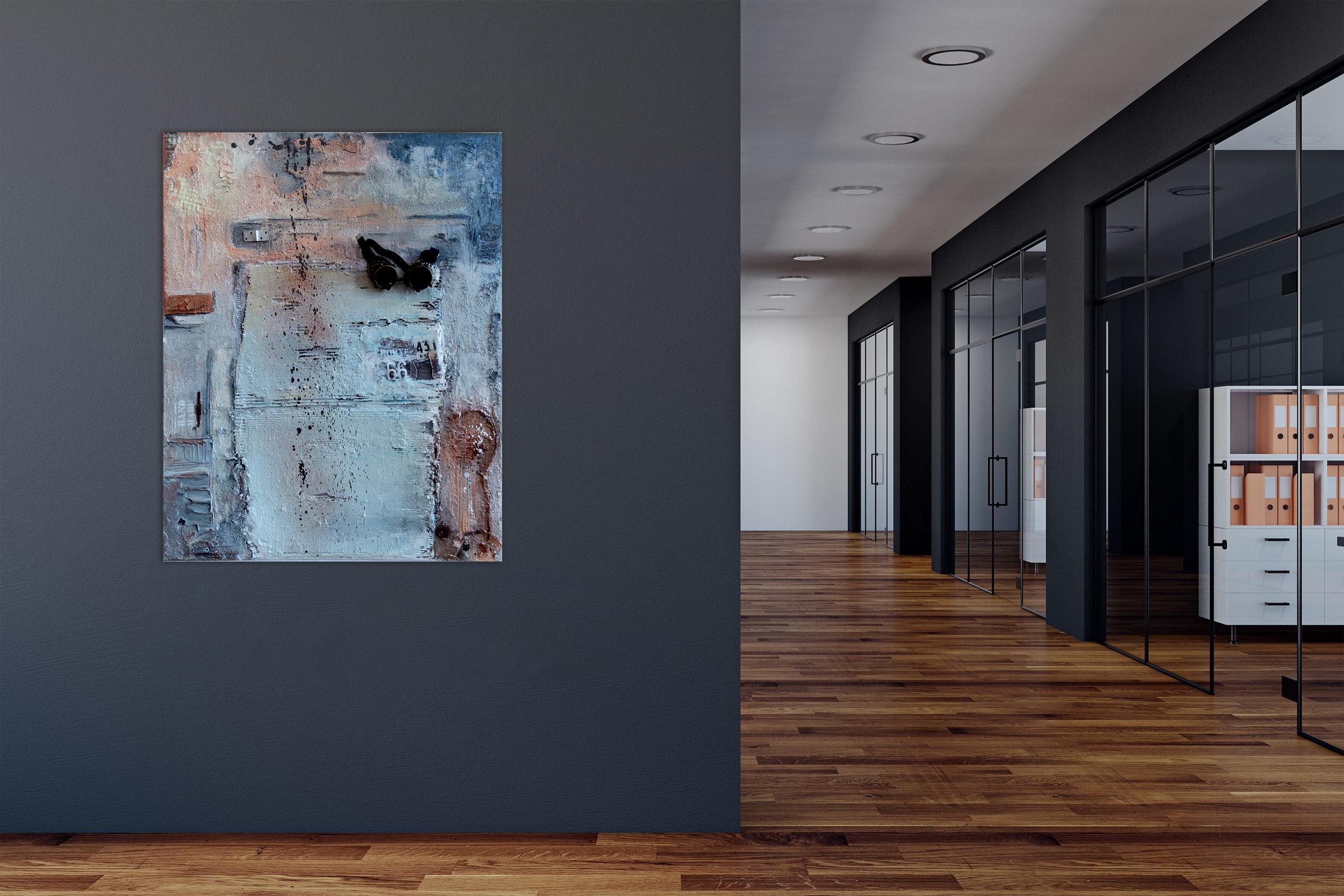 """Route 66″ Acryl Gemälde mit nostalgischer Motorradbrille & Metall. Unikat (211)"