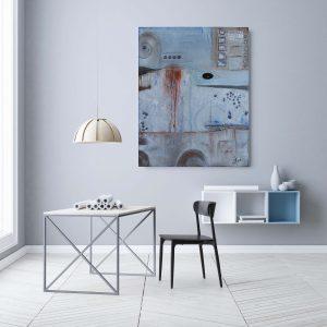 """Loft Impression″ Acryl Gemälde mit schwarzem Achat. Unikat (212)"