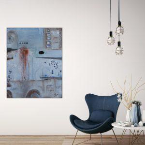 """""""Loft Impression″ Acryl Gemälde mit schwarzem Achat. Unikat (212) handgemalt - Gabriele Hofer"""