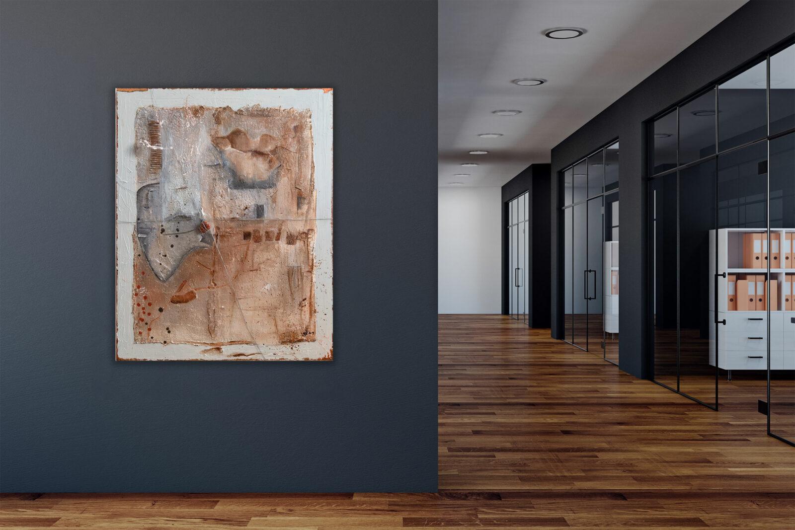 """""""Gefangen - Der Stein des Anstoßes″ Abstraktes Acryl Gemälde, Unikat, handgemalt (223)"""