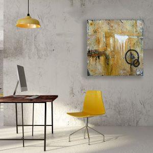 "Abstraktes Acryl Gemälde ""Loft Gold-Orange″ Unikat, handgemalt (229) (c) Gabriele Hofer"
