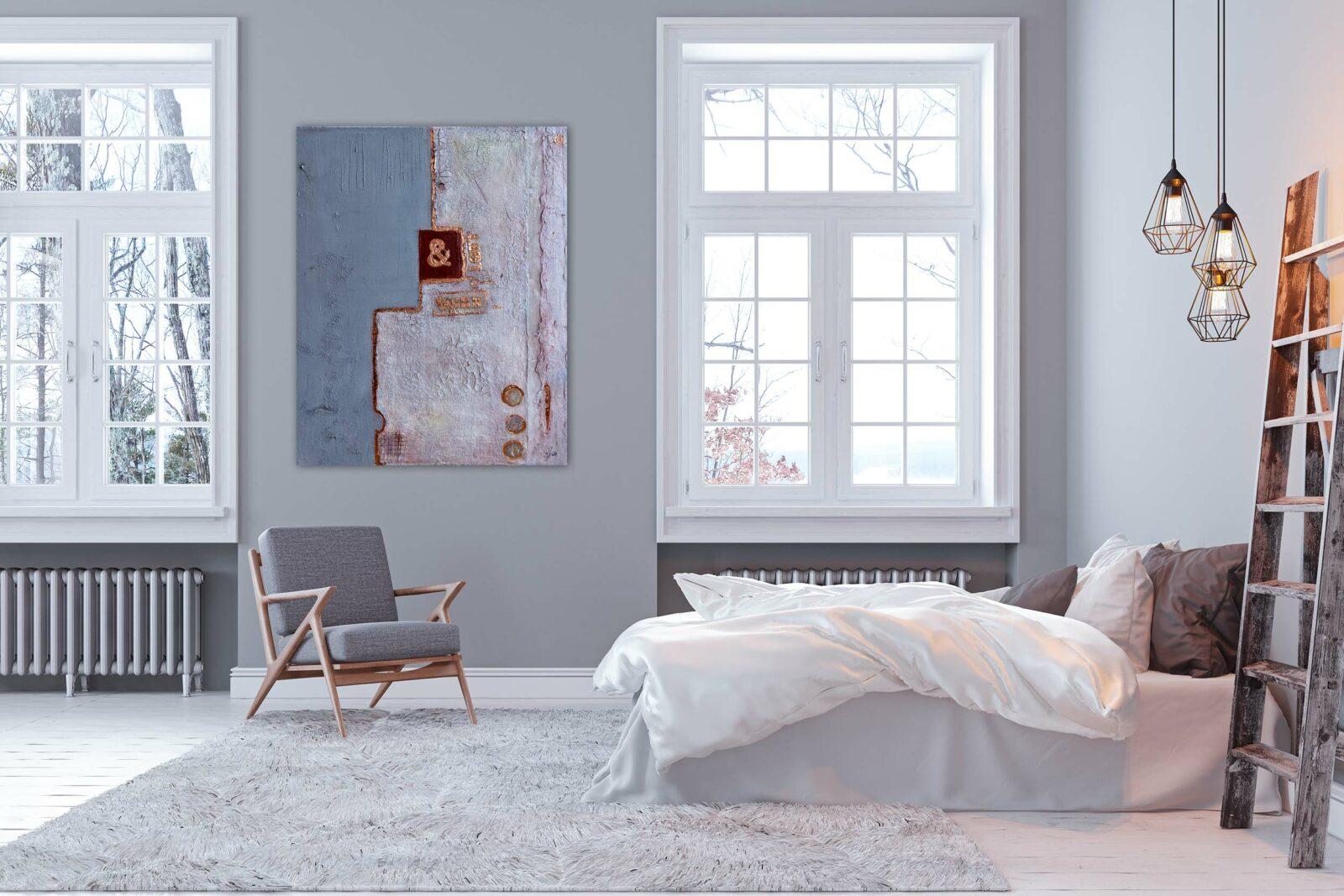 """Abstraktes Acryl Gemälde mit Beton """"Loft & Work"""" Unikat (204), handgemalt, Originalbild von Gabriele Hofer"""