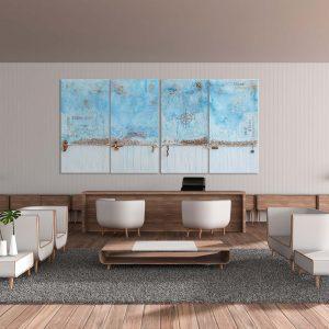 "4er Set - maritimes abstraktes Acryl Gemälde ""Strandgut″ Unikat, handgemalt (230) (c) Gabriele Hofer"
