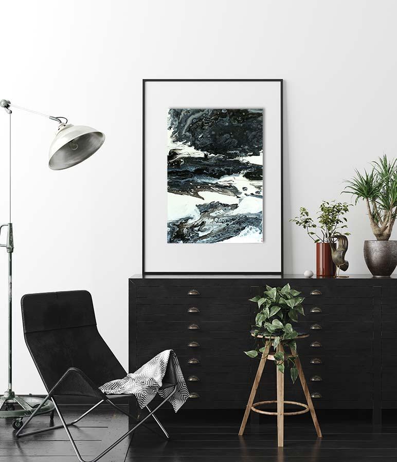 """Wandbild Acrylic Pouring - Acrylic Fluid Painting """"Black & White""""Unikat (133)"""