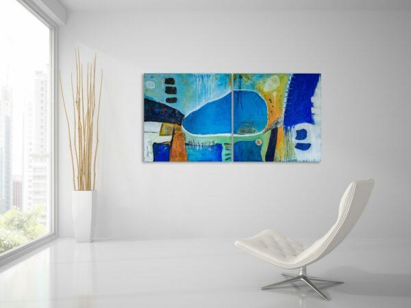"2er Set - Acryl Gemälde ""Blue lake from the air″ Unikat, handgemalt (241)"