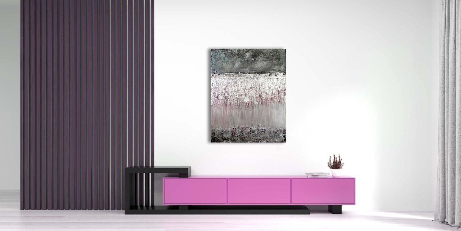 "Abstraktes Wandbild - Acryl Gemälde - ""silberne Kaskaden"" (251)"