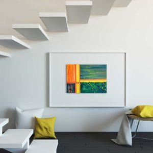 "Abstraktes Wandbild - Acryl Gemälde - ""Green- Yellow - Orange"" Unikat (153)"