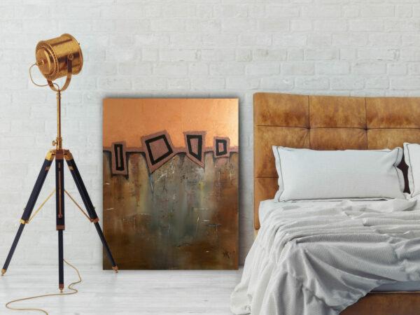 """Extravagantes, abstraktes Wandbild – Acryl Gemälde – """"GEO-Bronze"""" Unikat handgemalt (197)"""