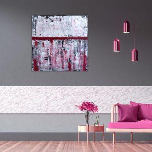 "Abstraktes Acryl Gemälde ""Impression RED"" Unikat (207) Originialbild, handgemalt. Gabriele Hofer"