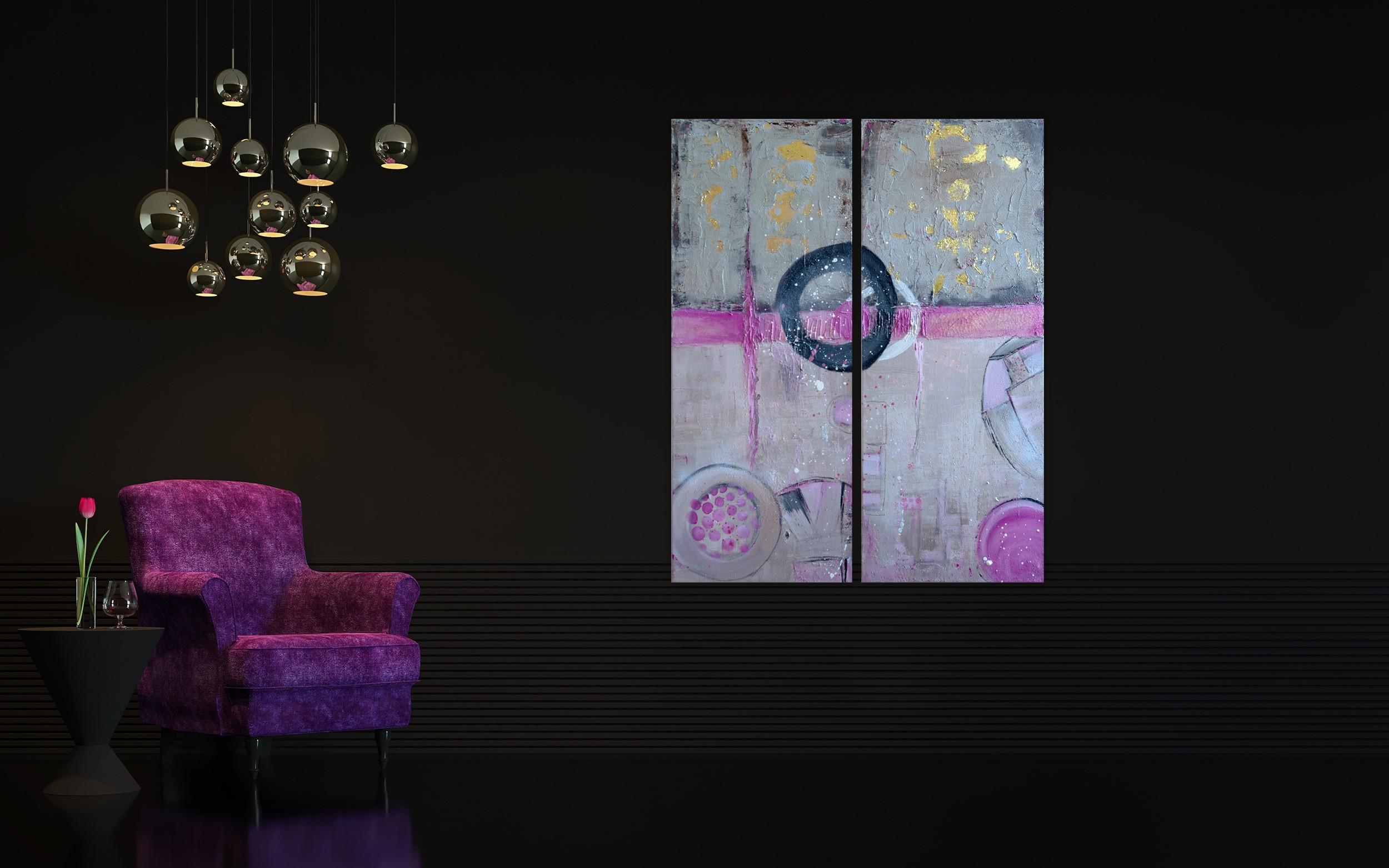 """Abstraktes Gemälde 2er-Set """"Loft-Pink"""" mit Beton und Blattgold - Unikat (221)"""