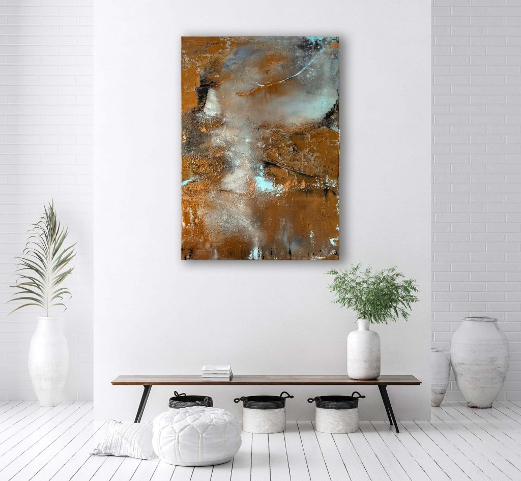 "Abstraktes Gemälde Mixed Media ""Bronze Arktis"" Unikat (249)"