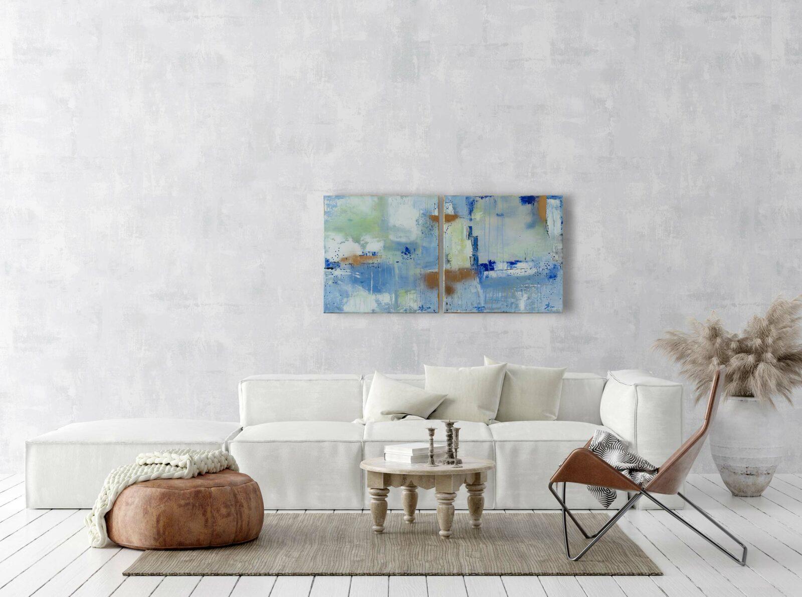 """2er-Set abstrakte Acrylbilder """"LOFT Pastell"""" Unikat (250)"""