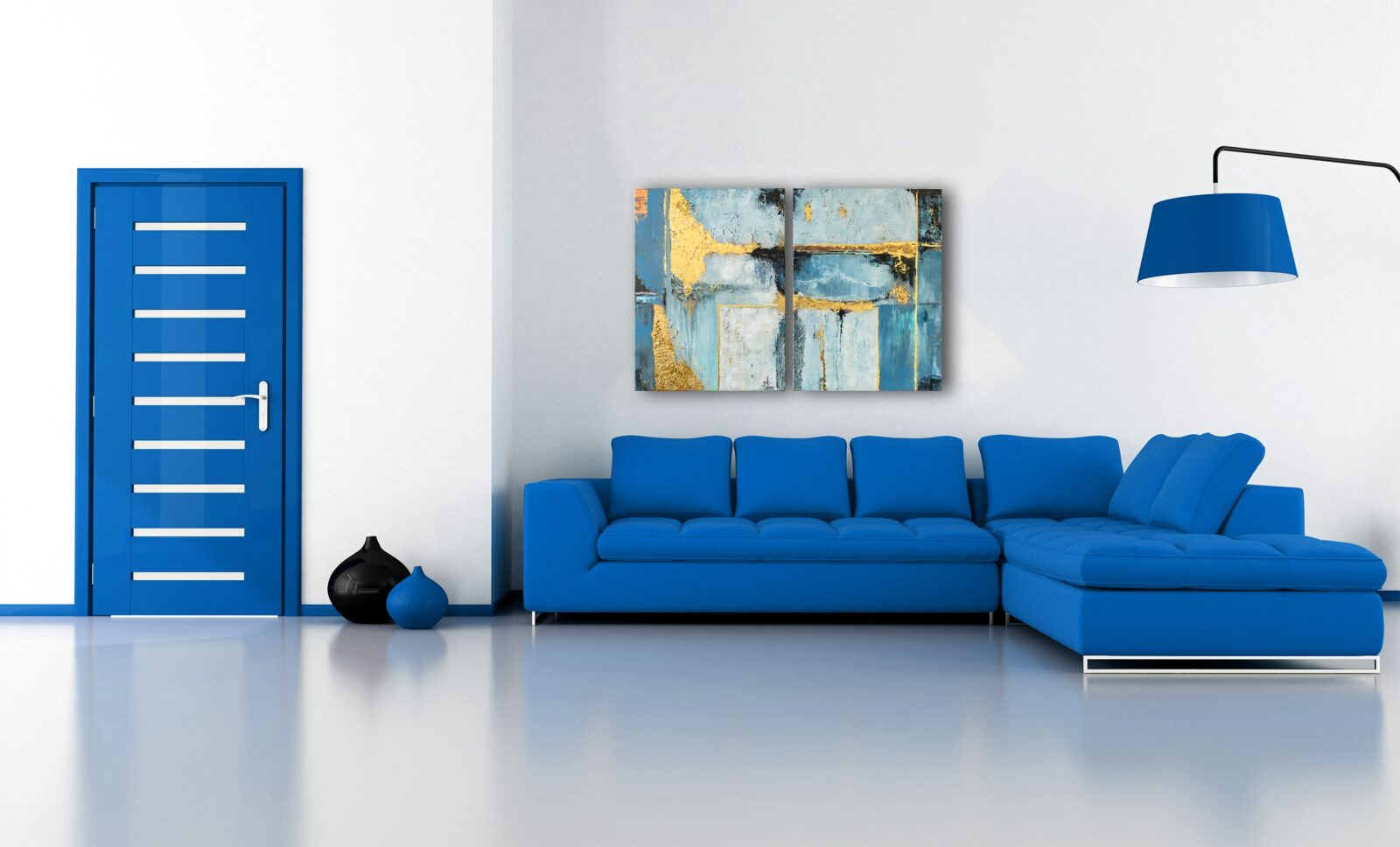 "2er-Set Mixed Media, abstrakte Acrylbilder ""Illusion Blue & Gold"" Unikat (253)"