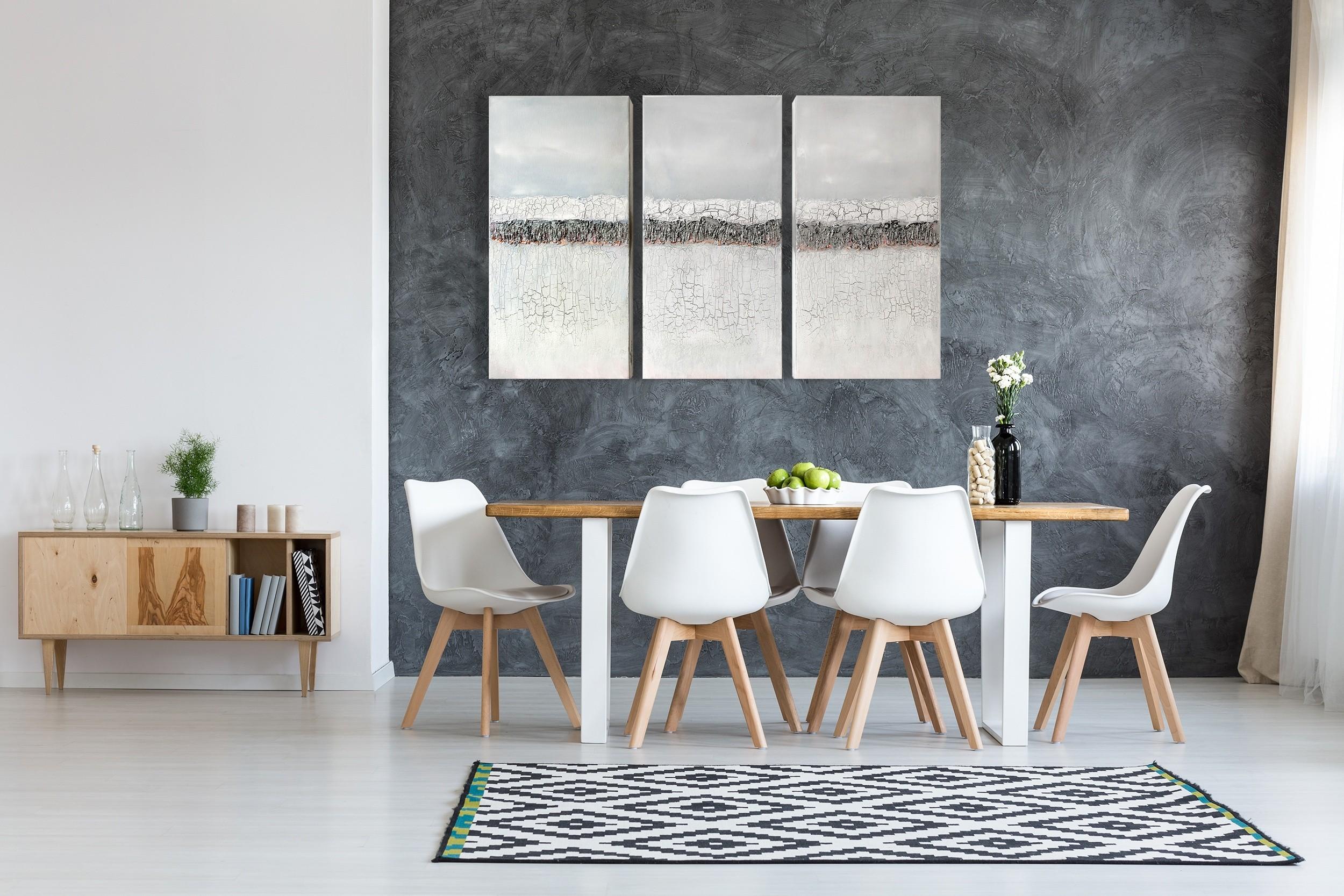 """3er-Set, abstrakte Acrylbilder """"Loft Silver cracks"""" Unikat (253)"""