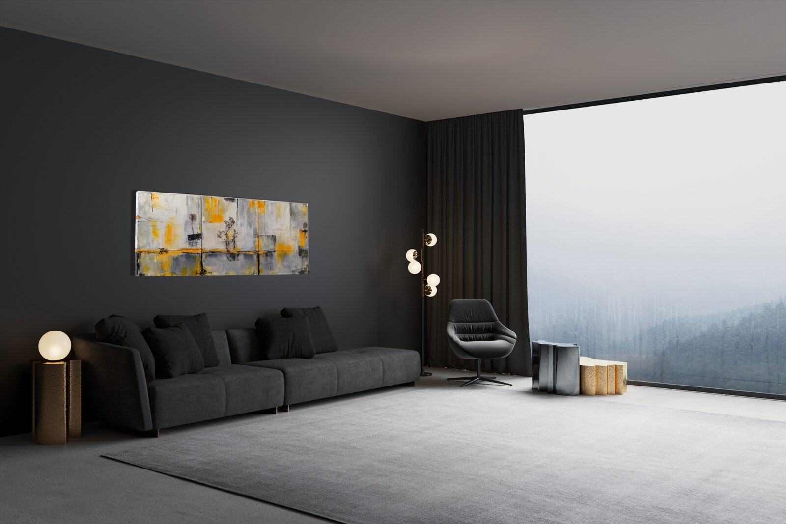 "3er-Set, abstrakte Acrylbilder ""discover Indian yellow"" Unikat (254)"