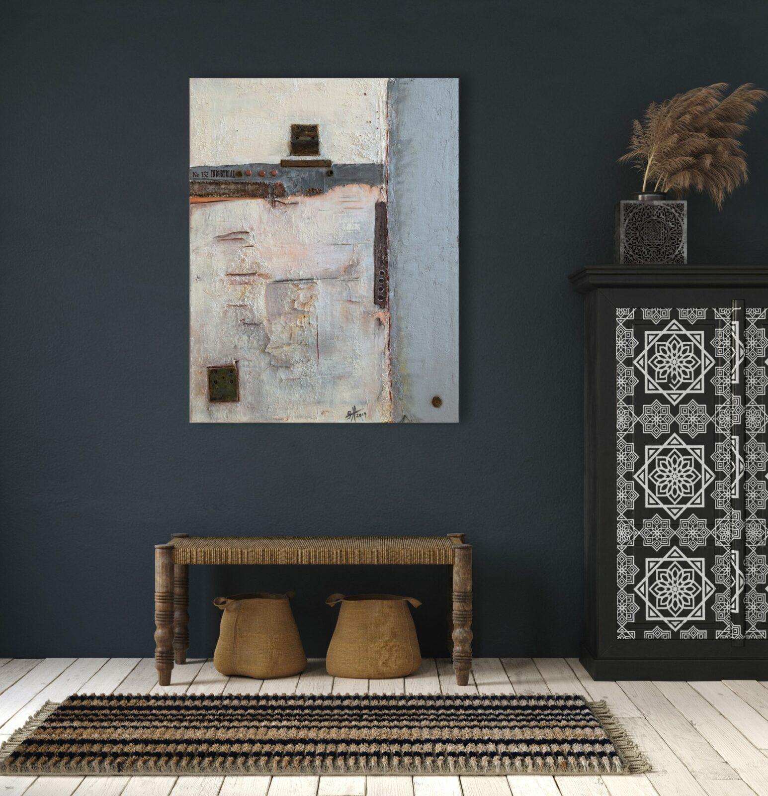 "Moderne Malerei, Abstraktes Acryl Gemälde mit Beton ""Industrial No 152"" Unikat (203)"