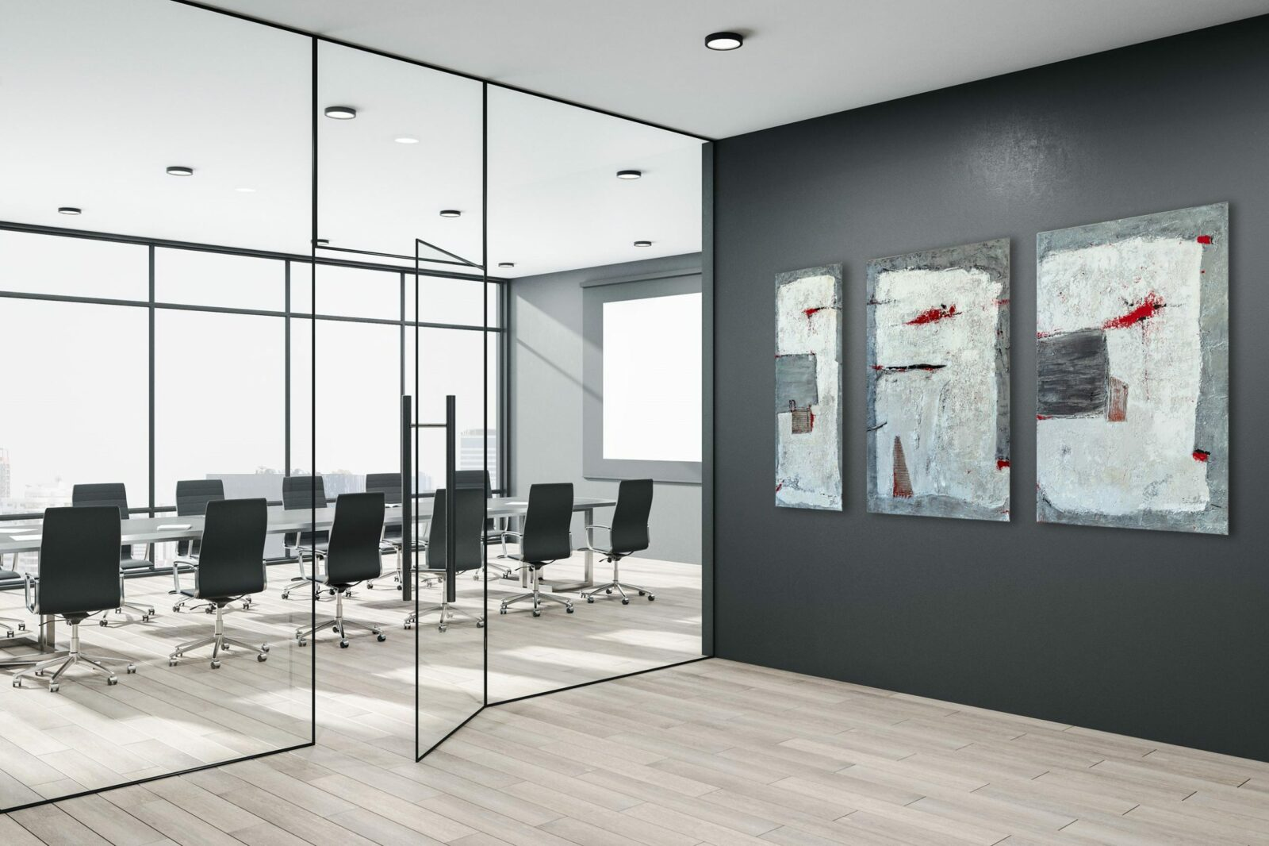 "Mixed Media, abstrakte 3-teilige Acrylbilder ""Triptychon LOFT Gray & Red"" Unikat (260)"