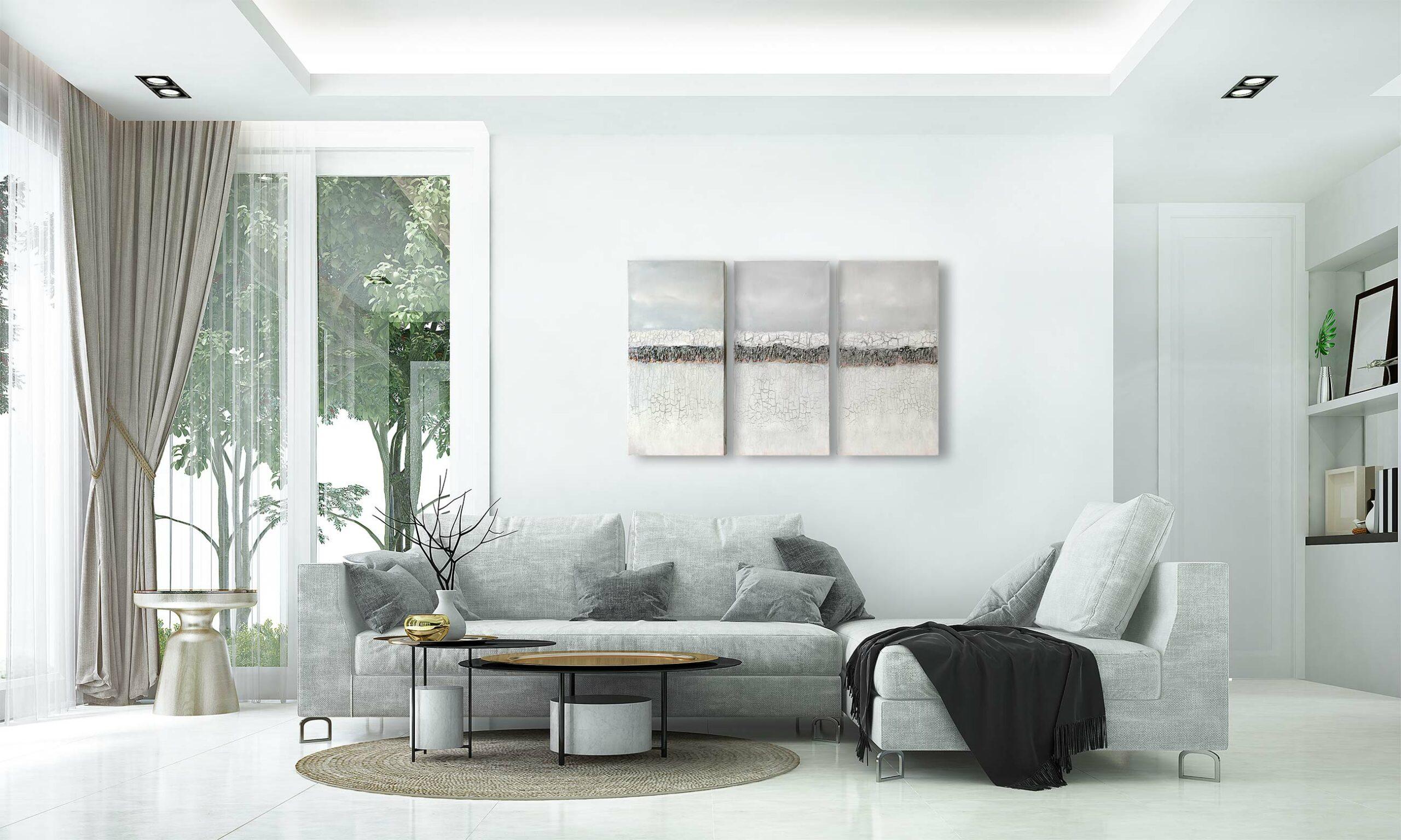 "3er-Set, abstrakte Acrylbilder ""Loft Silver cracks"", Triptychon, Unikat, Mixed Media (253)"