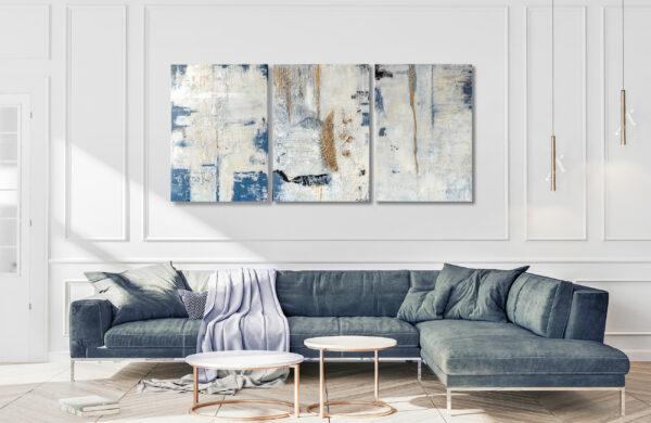 """3-teilig, Mixed Media, abstrakte Acrylbilder """"Triptychon White-Blue"""" Unikat (255)"""
