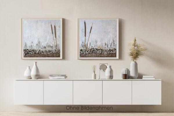 "Mixed Media, abstrakte 2-teilige Acrylbilder, Diptychon ""Strandfeeling mit echten Muscheln, Rohrkolben & Kieselsteinen"" Unikat (261)"