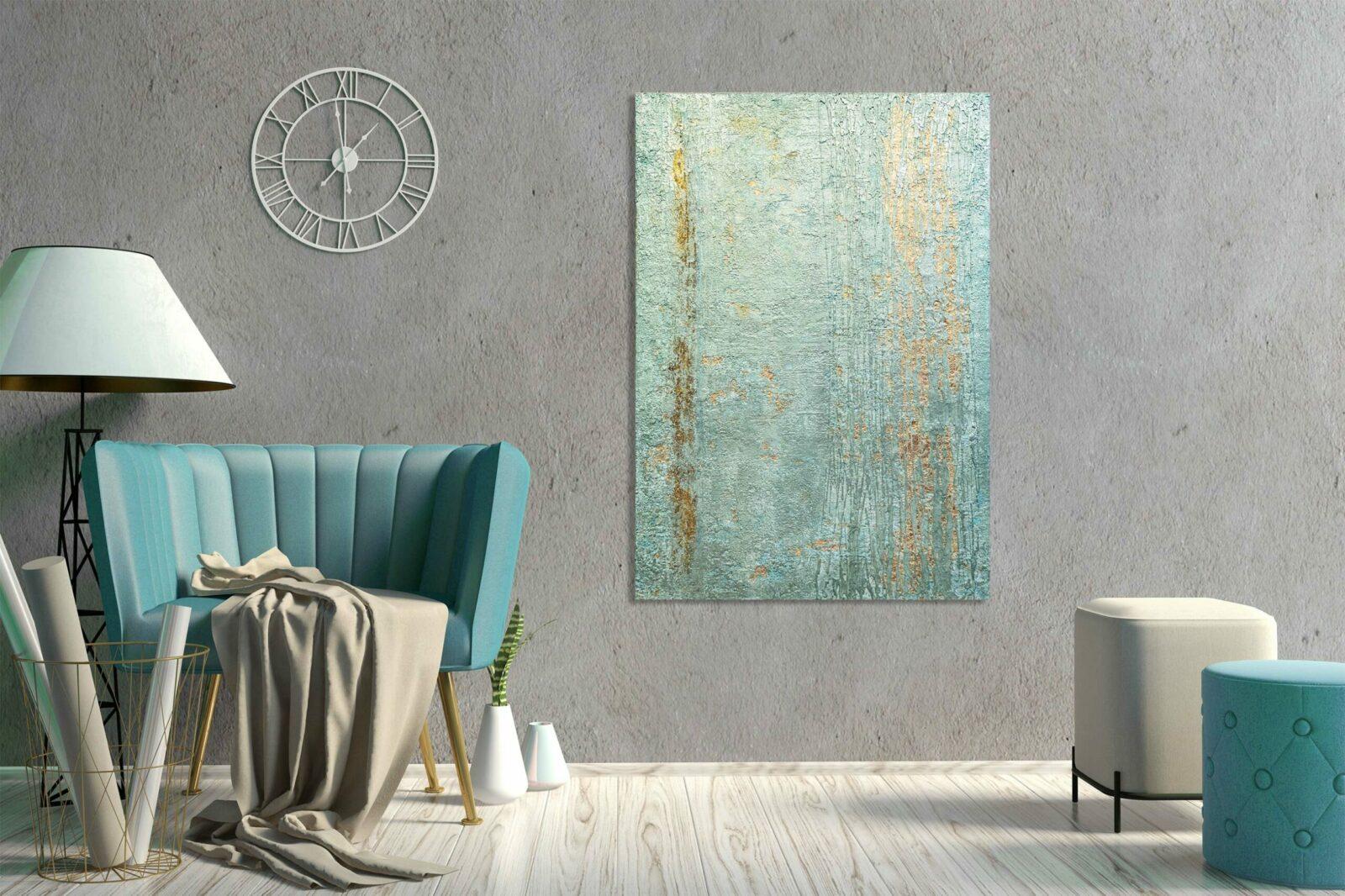 "Mixed Media ""Metallic Green"" Unikat - Abstraktes Acryl Gemälde - Exklusive Home Decoration (269)"