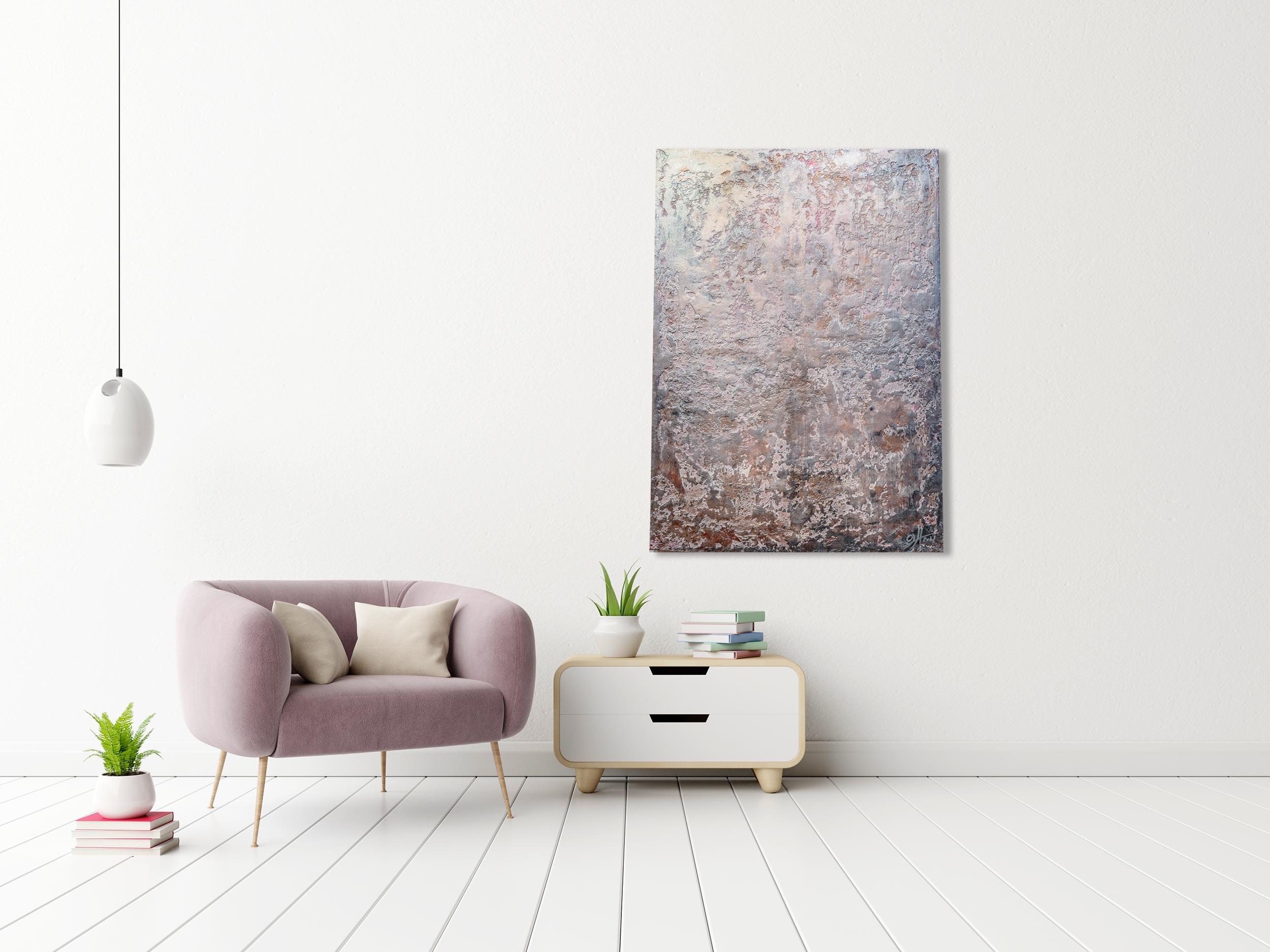 """Mixed Media """"Metallic Rosé"""" Unikat - Abstraktes Acryl Gemälde (270)"""